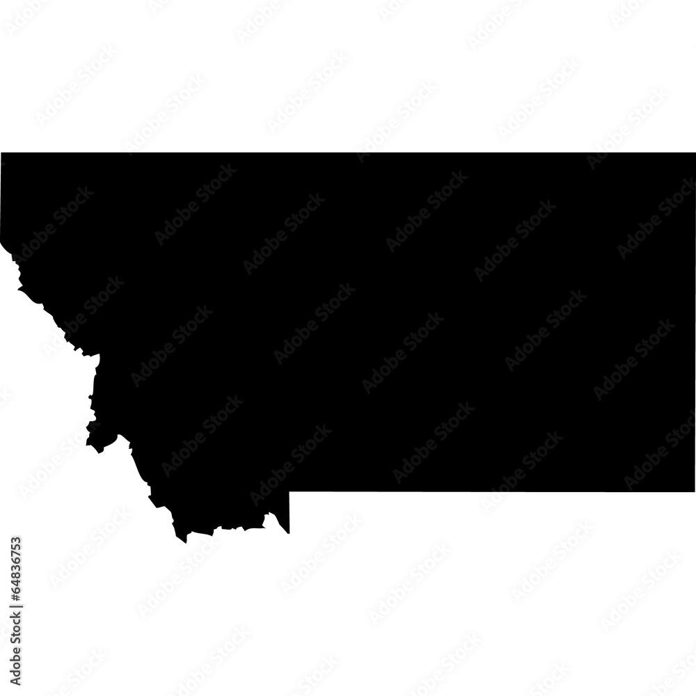 Fototapety, obrazy: High detailed vector map - Montana.