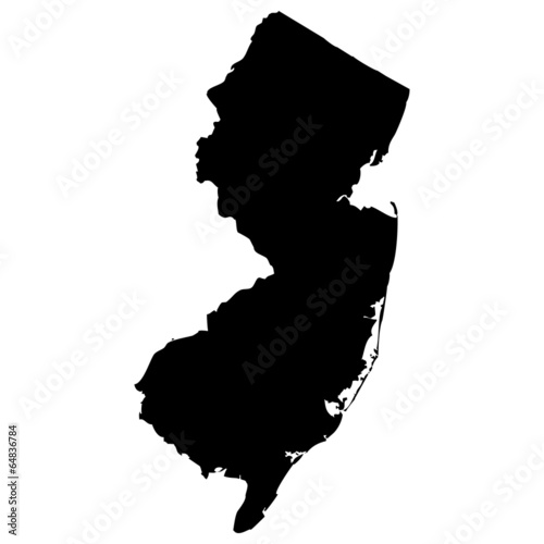 Photographie High detailed vector map - New Jersey.