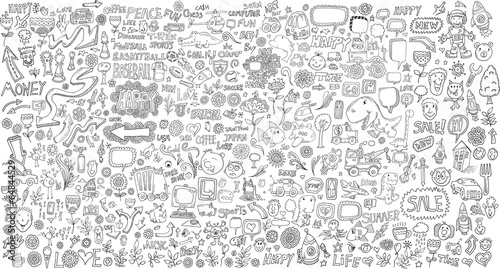 Photo sur Toile Cartoon draw Mega Doodle Design Elements Vector Set