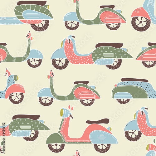 Cotton fabric Bikes seamless pattern