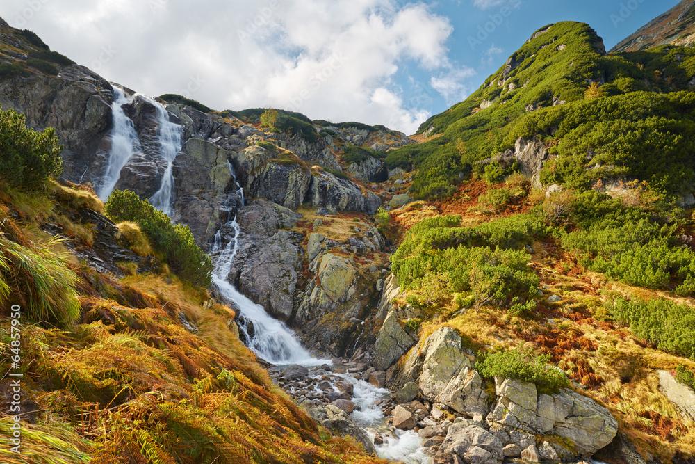 Fototapety, obrazy: The Great Siklawa Waterfall. High Tatra Mountains, Carpathians.