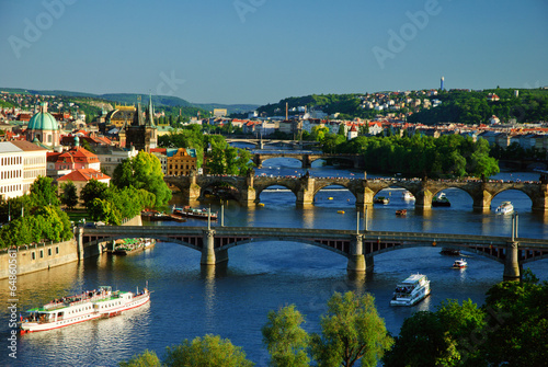 Aluminium Prints Prague View of Charles Bridge in Prague from Letensky gardens.