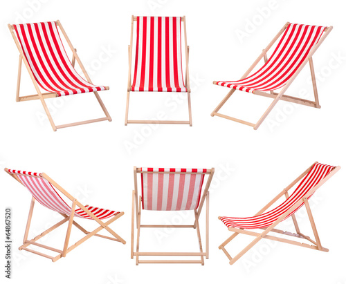 Fotografia, Obraz Beach chairs isolated on white background