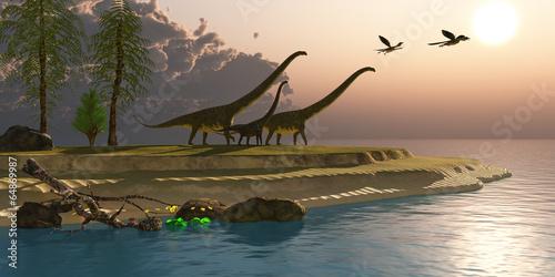 Fotografie, Obraz  Mamenchisaurus Dinosaur Morning