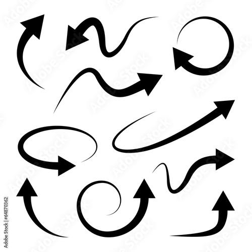 Fotografía  Curved arrows set. Full rotation. Refresh.