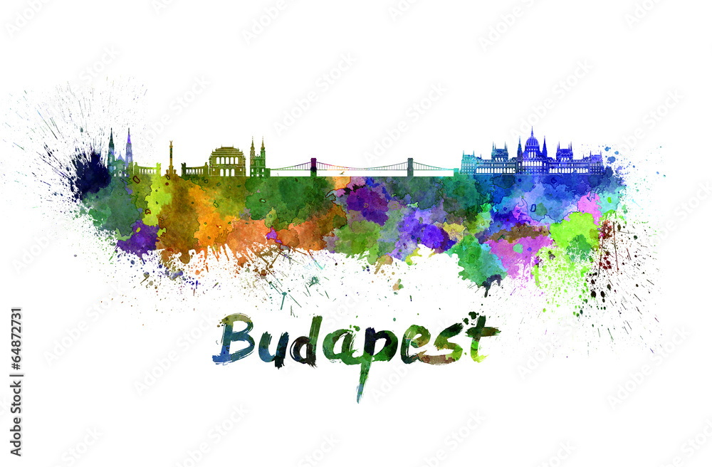 Photo & Art Print Budapest skyline in watercolor | EuroPosters