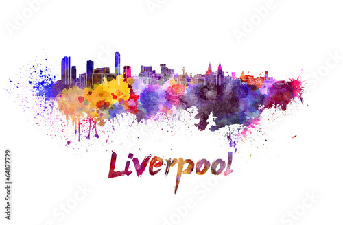 Stampa su Tela  Liverpool skyline in watercolor
