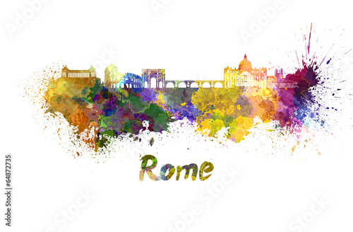 Photo  Rome skyline in watercolor