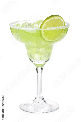 Fotografie, Obraz  Classic margarita cocktail with lime slice and salty rim