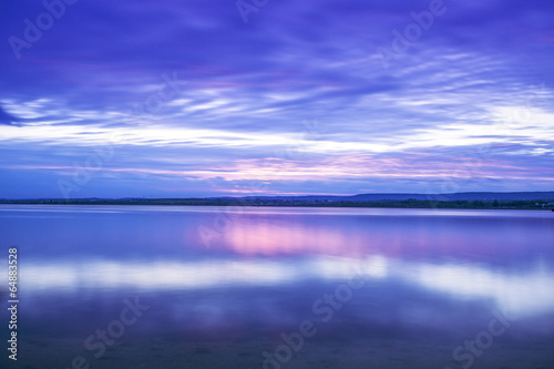 Photo Stands Dark blue Beautiful cloudscape over the sea, sunset shot
