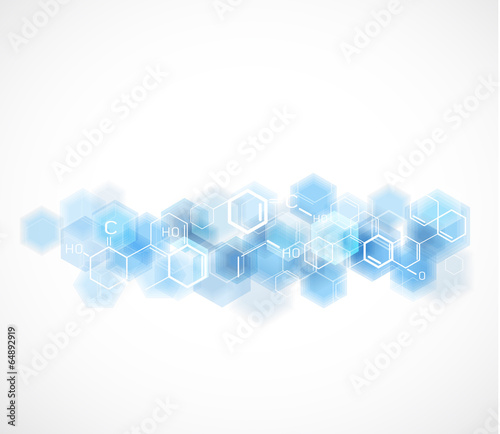 Fotografia  chemical and molecular concept template background, Vector