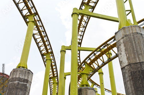 Poster Amusementspark Yellow roller coaster rial