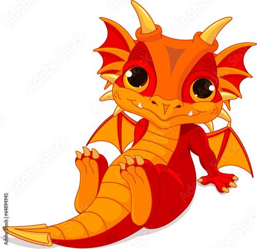 Valokuvatapetti Cute baby dragon