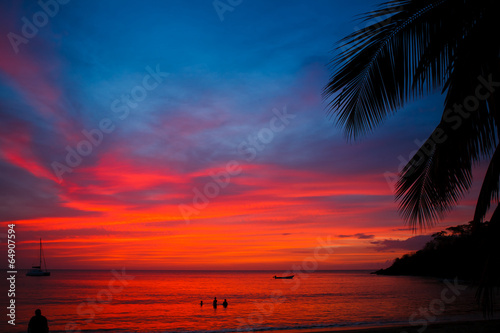 Fotobehang Zee zonsondergang caribbean sunset