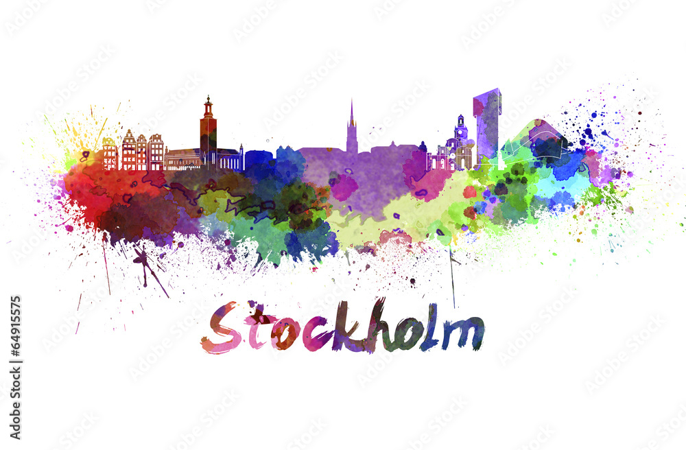 Fotografia  Stockholm skyline in watercolor