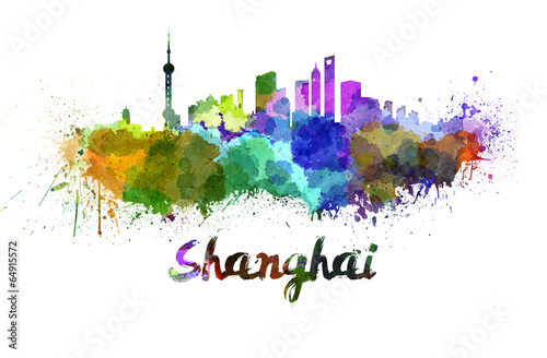 Shanghai skyline in watercolor Poster
