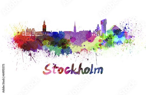 Photo  Stockholm skyline in watercolor