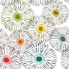 Panel SzklanyVector flowers sketchy background Seamless pattern