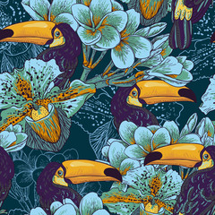 Tapeta Tropical seamless parrern with flowers and Toucan