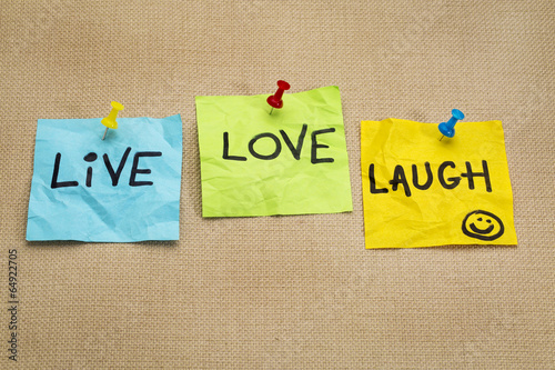 Photo  live, love, laugh - reminder notes
