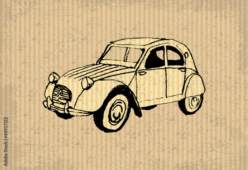 Photo  Old-timer - citroen 2 cv 1964, illustration on a cartboard