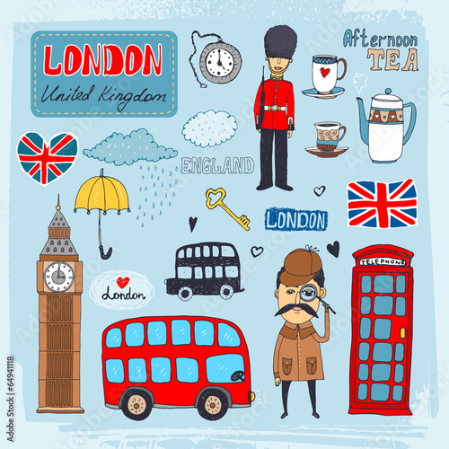 London landmarks Fototapet