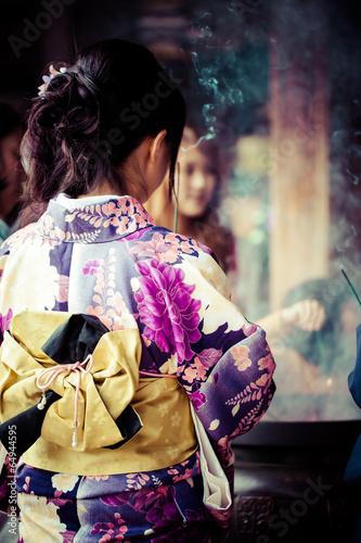 Japanese women wear traditional Kimono,Kiyomizu temple,Kyoto