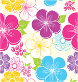 Seamless floral background with summer flowers and leaves
