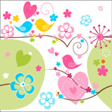 Whimsical seamless background with cute birds flowers and hearts