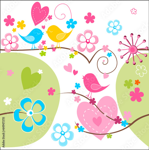 Fotografie, Obraz  Whimsical seamless background with cute birds flowers and hearts
