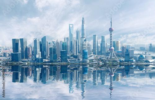 Keuken foto achterwand New York Aerial photography Shanghai skyline