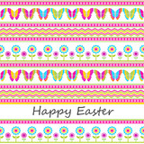 Cute colorful Easter seamless background butterflies flowers