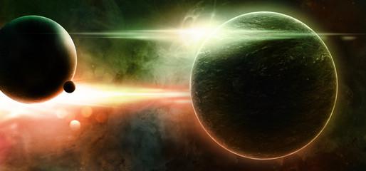Fototapeta planety na gwiaździstym niebie