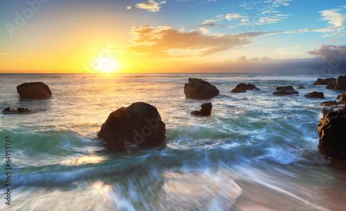 Obraz Zmierzch na plaży Boucan, Reunion - fototapety do salonu