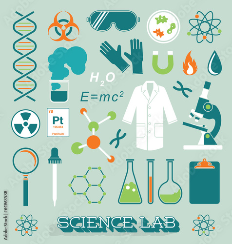 Fotografie, Obraz  Vector Set: Science Lab Icons and Objects
