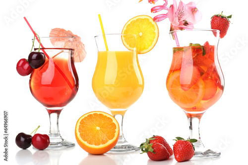 Refreshing fruit cocktails isolated on white