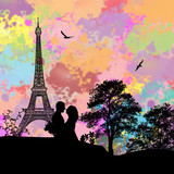 Couple in love on Paris