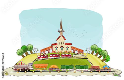 Train station illustration, Happy world collection