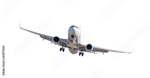 Airplane Jet Airplane Landing Isolated on White