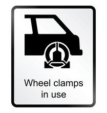 Monochrome Wheel Clamp Public Information Sign