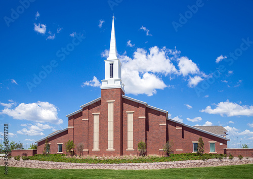 Mormon church against blue sky