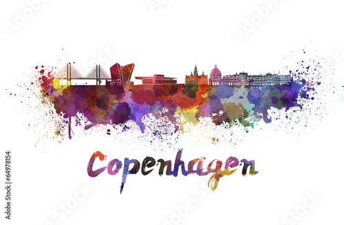 Copenhagen skyline in watercolor Poster