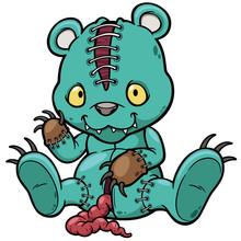 Vector Illustration Of Evil Teddy Bear