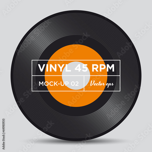 Fototapeta Vinyl record 45 RPM mock up
