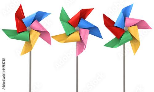 Fotografia, Obraz  Colorful Pinwheels Isolated