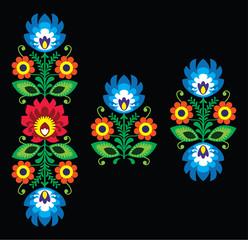 Folk embroidery with flowers - Polish pattern Wzory Lowickie