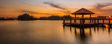 Water Gazebo And Sunset At A L...