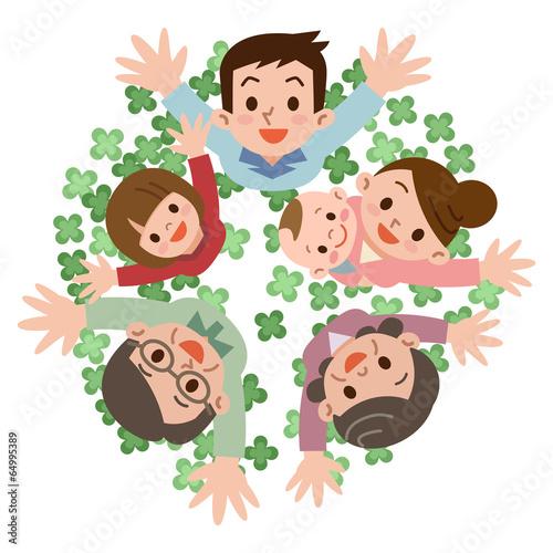 Fotografie, Tablou  クローバーと幸せ家族