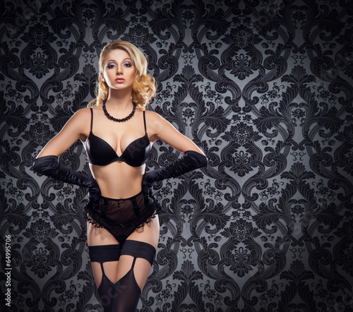 7f690292f Young and beautiful cabaret dancer in sexy vintage lingerie - Buy ...