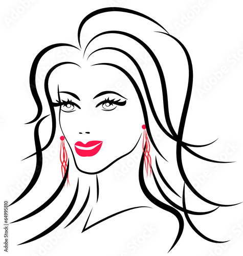 Beauty Face Fashion Woman Logo Vector Silhouette Poster Posters Glopphy